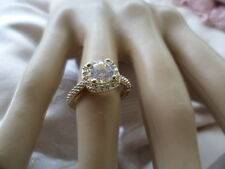 Antique Vintage Gold Halo Ring with Sapphire White Stones ring size 6 or L