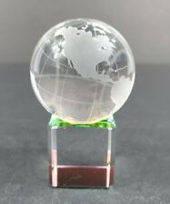 Crystal Etched Spinning Miniature Globe Paperweight on Iridized Stand EUC
