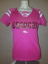 NEW NFL Team Apparel Denver Broncos Pink Bling Lace Up Jersey Shirt Womens Small