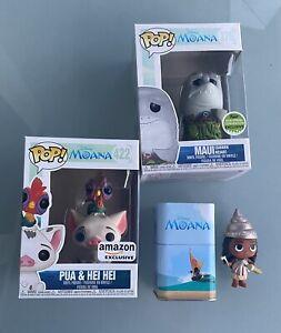 Funko Pop! Disney Moana Bundle Of 3 Maui Shark Head #376, Pua & Hei Hei #422