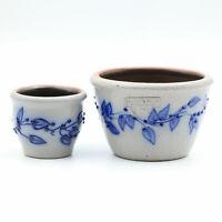 Vintage SALMON FALLS STONEWARE Blue Blueberry Vine Votive & Berry Bowl 1995