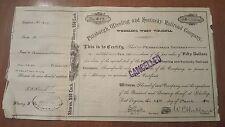 Pittsburgh, Wheeling & Kentucky Railroad Company Stock Certificate West Virginia