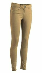 Girls Junior School Uniform Skinny Stretched Pants, Khaki, Size 3.0 YJJU