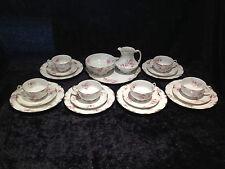 Preciosa Limoges Gda Francia Rosa Floral Y Dorado Oro gabinete de 21 piezas Juego de té