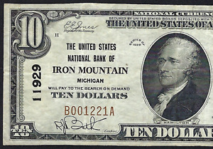 MI 1929 $10   ♚♚IRON MOUNTAIN, MICHIGAN♚♚ THE UNITE STATES NB