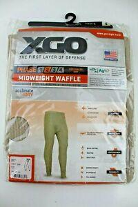 XGO Men's Base Layer Bottoms Midweight Waffle Pants Desert Sand Phase 2 Small