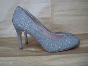 NEXT UK 3 1/2 SILVER SPARKLY FABRIC COURT SHOES