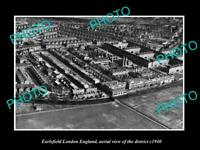 OLD POSTCARD SIZE PHOTO EARLSFIELD LONDON ENGLAND DISTRICT AERIAL VIEW c1940