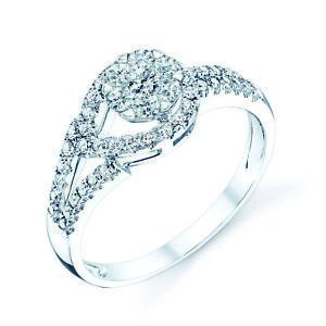 14k Oro Bianco Love Nodo Lacrima Anello Diamante Taglio Rotondo Naturale Da 0.50