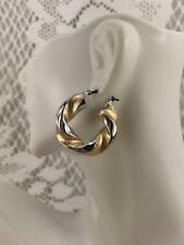 Gorgeous Retro Chunky Hoop Earrings ~2 Tone  Swirl~14k Gold Yellow & White