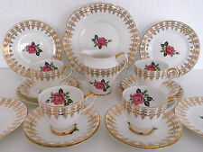 VINTAGE TAYLOR KENT BONE CHINA PINK ROSES GOLD CHINTZ 18 PIECE TEA SET WEDDING