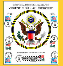 1989 Inauguration of George H W Bush Great Seal of the US Souvenir Card 7 Cities