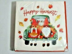 Happy Harvest Gnomes and Pie Blue Truck Lunch Napkins Autumn Leaves 40-Count