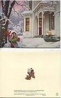 CHRISTMAS WHITE VICTORIAN HOUSE SNOW TREE CAT 1 CANTON EGG ROLL RECIPE RICE CARD