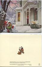 CHRISTMAS WHITE VICTORIAN HOUSE SNOW TREE CAT 1 SUSAN BRANCH PICNIC SUMMER CARD