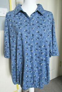 Cotton Traders Top | Size 24 | Blue Polka dot | Short sleeves Blouse Boho