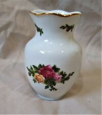 Royal Albert Old Country Roses Small Glossy White Ceramic Bud Vase-Roses/Floral