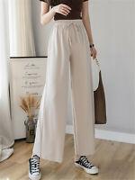 ANNA-KACI Women's Casual Loose Wide Leg Crop Sweatpant Pull On Dress Pants