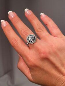 Beautiful Vintage 1.25 Carat Center Diamond Plus Sapphires Diamonds Halo Ring
