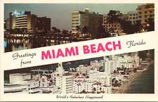 Greetings from Miami Beach Florida Multi View Hotel Row 1955 Postcard - Unposted