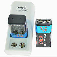 Set 2pcs 9v Rechargeable Batteries NiMH 6mAh 1.2v battery with charger
