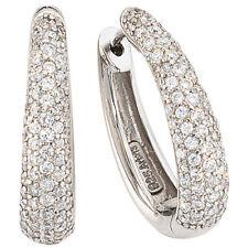 Damen Creolen oval 925 Sterling Silber mit Zirkonia Ohrringe Silbercreolen
