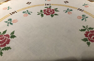 Vintage Oval White Linen Cross Stitched Tablecloth.