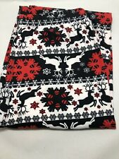Christmas Holiday Legging Red- White Snowflake&Reindeer Super Soft ONE Size USA