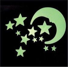 100 Wall Glow In The Dark Moon+Stars Stickers Baby Kids Nursery Bed Room Ceiling