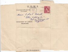 Stamp 3&1/2d red QE2 definitive perfin VG on 1956 Department Labour letteret