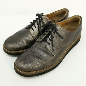 Clarks Artisan Size 7.5 Leather Lace Up Darby Oxford Flats Shoes Metallic Bronze