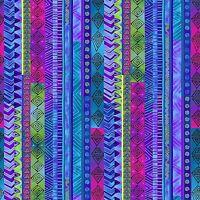 Laurel Burch Celestial Magic Dark Blue Stripe Clothworks Fabric BTY