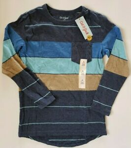 5T Cat /& Jack Boys/' Turquoise//Navy Blue Stripe Thermal Henley Top 3T 4T