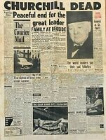 1965 Vintage Newspaper Courier Mail 'Winston Churchill Death Tribute'