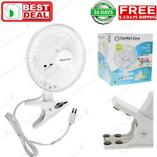 Clip On Small Personal Fan 2 Speed Portable Home Office Table Desk Tilt White