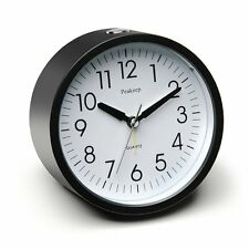 Peakeep 4'' Round Silent Alarm Clock with Snooze and Light Functions, Gradually