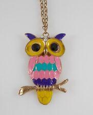 Vintage OWL Rhinestone Enamel Necklace Pink Purple Yellow Whimsical