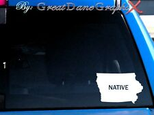 "Iowa ""NATIVE"" Vinyl Car Decal Sticker / Choose Color - HIGH QUALITY"
