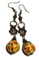 Long Bronze Earrings Glass Bead Pierced Vintage Boho Style Artisan Brown Green