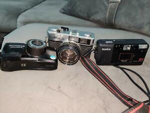 Vintage Fotokameras Analog  3x Olympus 35 RD + Olympus mju Zoom+ Konica A4