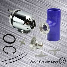 """UNIVERSAL SSQV BOV SEQUENTIAL BLOW OFF VALVE SILVER+ 2.5"""" SILICONE ADAPTER BLUE"""
