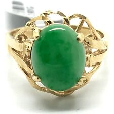 18k solid yellow gold diamond cut natural jade ring