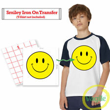 Smiley Face Iron On T Shirt Transfer Acid House High Quality SCREEN PRINTED 25cm