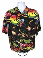 Vintage Planet Hollywood Men's Shirt Size XL 90's Hawaiian Neon Rayon Galaxy