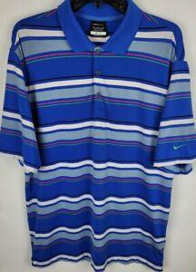 Nike Golf Mens Size Medium Blue Striped Dri Fit Stretchy Polo Shirt