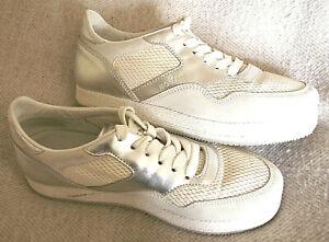 Original HOGAN Sneaker Damen Gr.38,5 Echtleder Mesh Weiss Grau Silber neuw.TOP👣