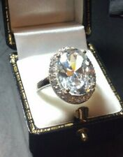 SPARKLING HUGE TOP QUALITY STERLING SILVER CZ LADIES DRESS COCKTAIL RING SIZE Q