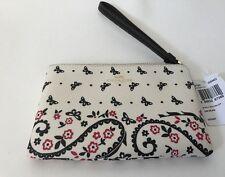 COACH LEATHER WRISTLET PURSE Corner Wallet Zip in White Butterfly Design F59790