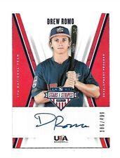 2019 Stars & Stripes-17U National Team-Autograph-Drew Romo-Limited 186 of 499-Nm