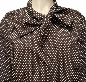 Sears Pussy Bow Blouse Plus Size 44 Brown Polka Dot Secretary Top Shirt Top Vtg